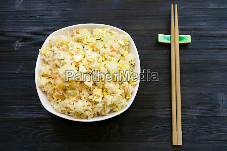 top view of served fried rice