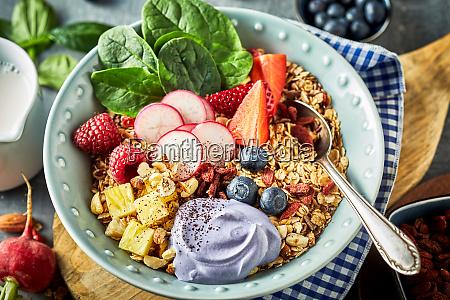 dish of muesli with fresh berries