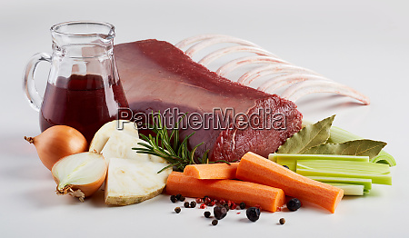 cooking ingredients with raw meat and