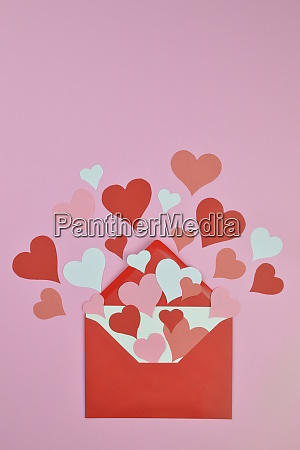 red and pink paper hearts in
