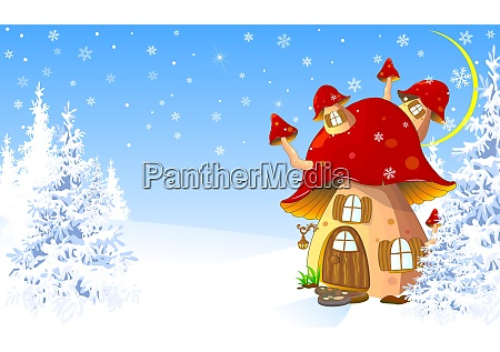 mushroom house in the winter forest