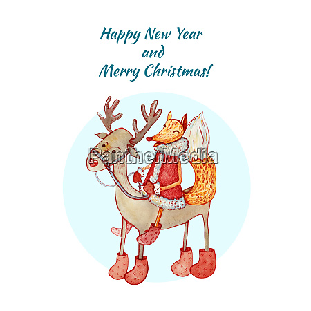 greeting card merry christmas and happy