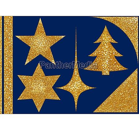 christmas glitter elements on blue background