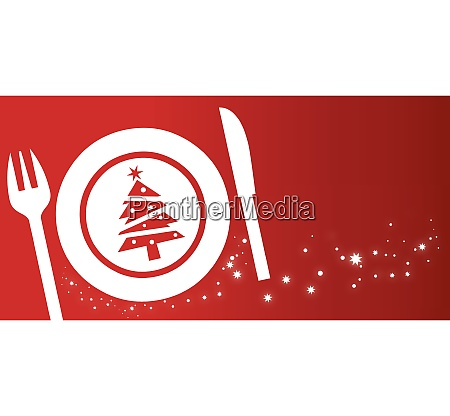 christmas dinner concept on red background