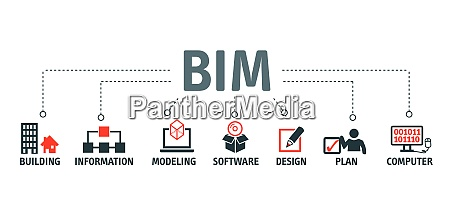 building information modeling concept vector illustration