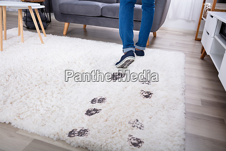 person walking with muddy footprint on