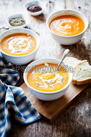 bowls of organic buttenut squash soup