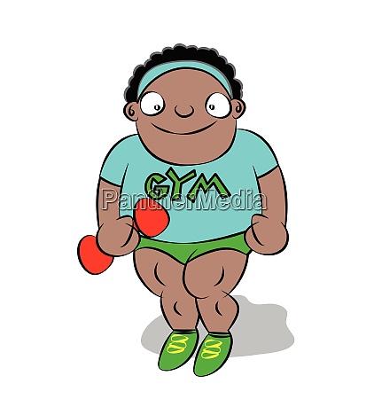 funny cute chubby black boy at