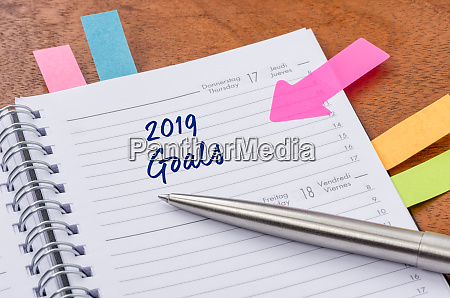daily planner with the entry 2019