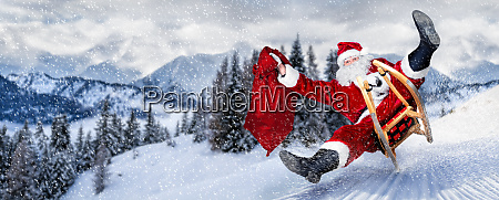 late santa claus in a hurry