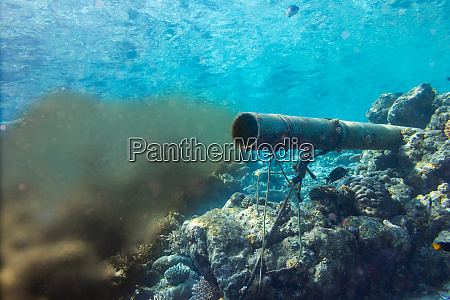 underwater sewer wastewater pipe in coral