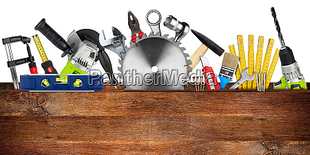diy tools collage wooden plank concept