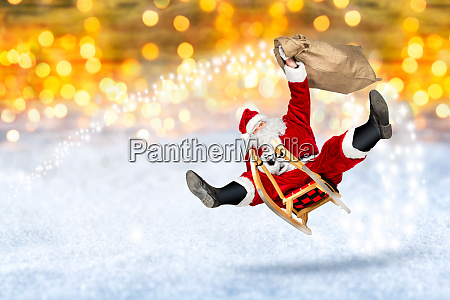 crazy santa claus flying on his