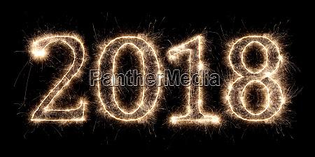 2018 firework sparkler bright glowing new