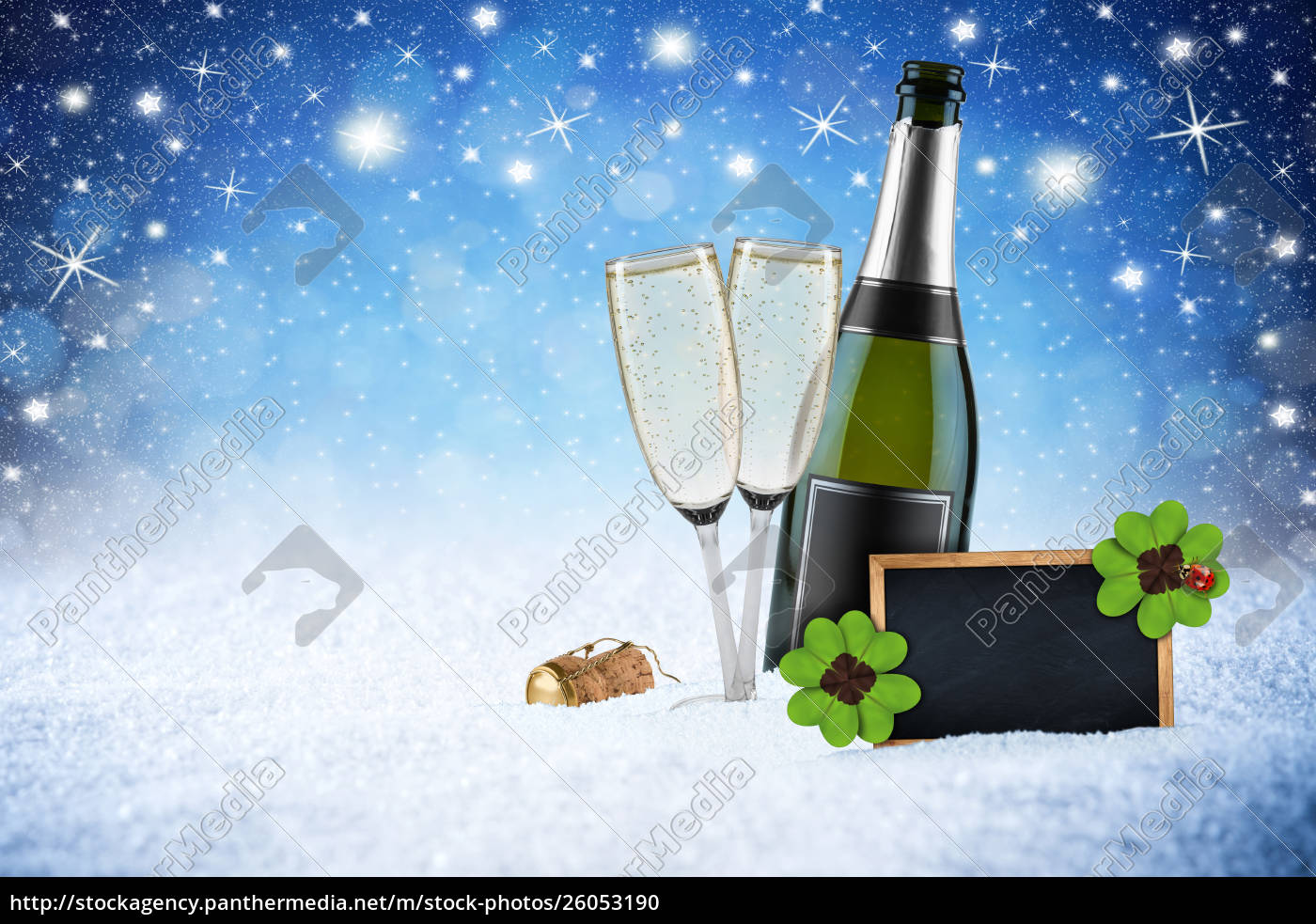 happy, new, year, ice, blue, snow - 26053190