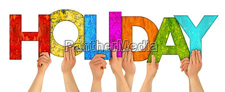 hands colorful wooden letter holiday