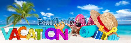 vacation accessory on tropical paradise beach