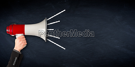 wide megaphone blackboard business background