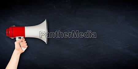 wide megaphone blackboard business background