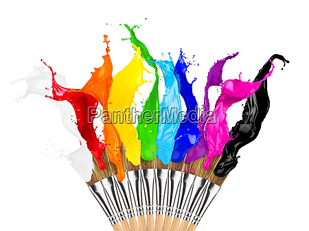 colorful color splash paintbrush row