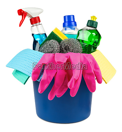 household cleaners in bucket