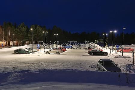 winter snowy parking
