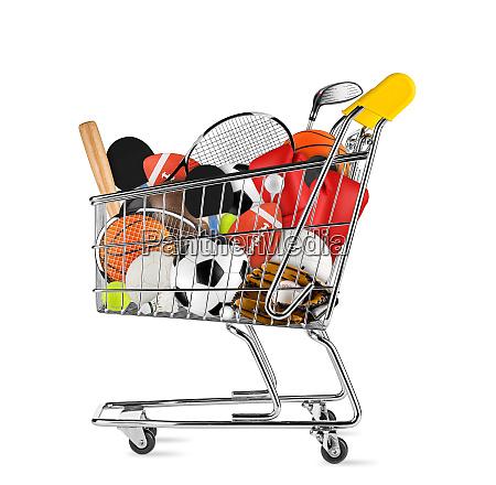 sports equipment shopping cart