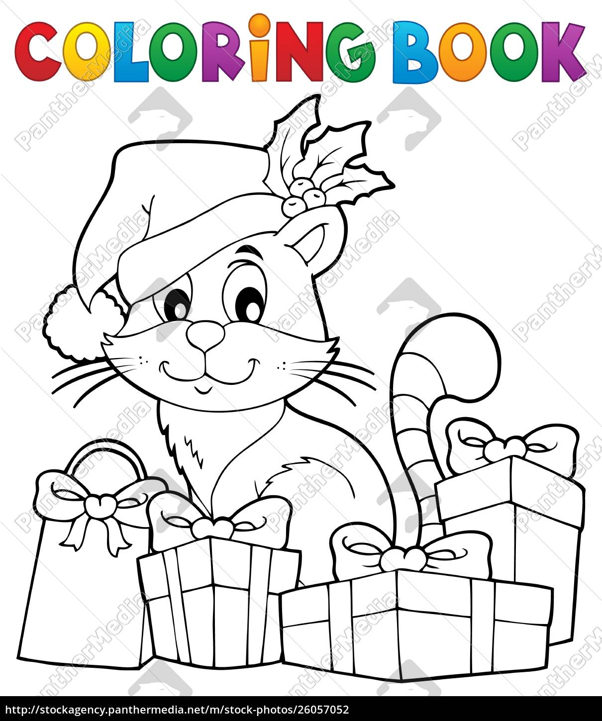 Coloring Book Christmas Cat Theme 3 Royalty Free Photo 26057052 Panthermedia Stock Agency