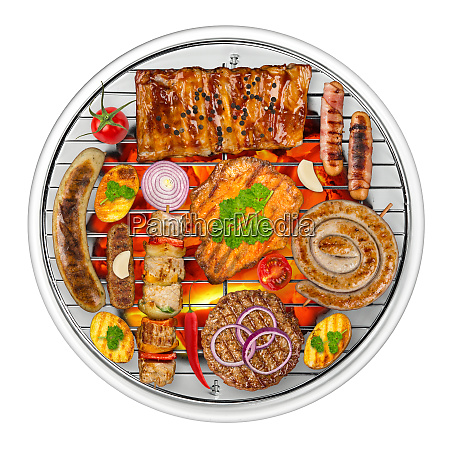 grilled food on kettle grill