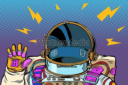 spacesuit astronaut hello gesture