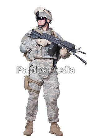 full equipped us marine standing with
