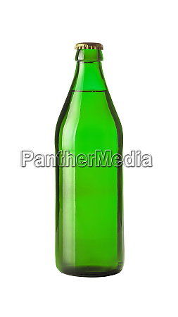 close up one green beer bottle