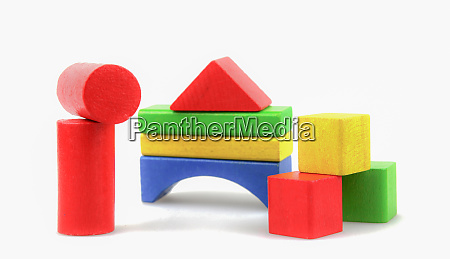 colorful wooden building blocks toys isolated