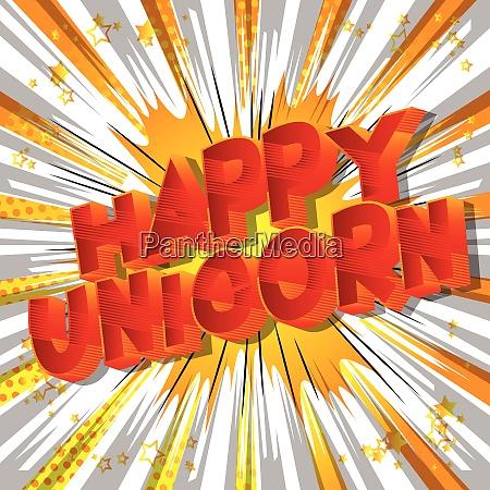 happy unicorn comic book style