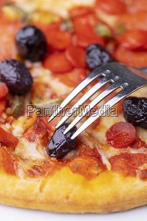 closeup of an fork on italian