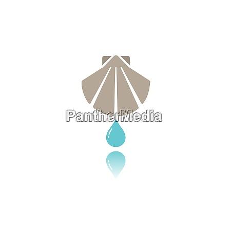 taufe flache farb ikone mit reflexion