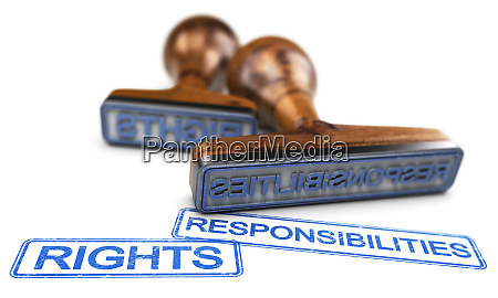 rights and responsibilities words over white