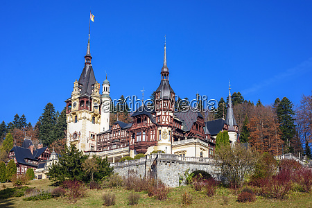 peles castle at daylight in autumn