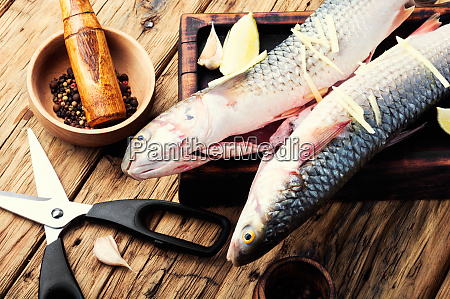 whole raw spiced fish