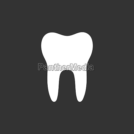 tooth flat icon on a black