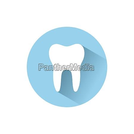 icona piatta del dente con lombra