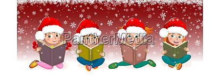 kids with books for christmas