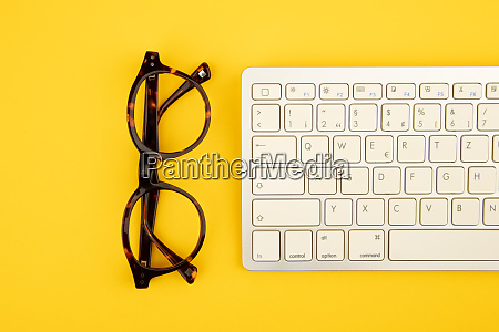 concept eye glass and keyboard