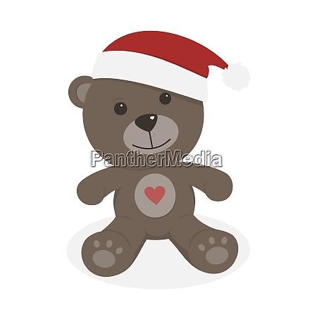 isolated christmas teddy bear on a