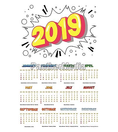 2019 retro style comic book calendar