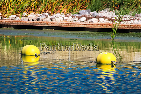 two buoys near a water edge