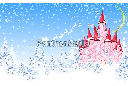 pink castle forest winter santa
