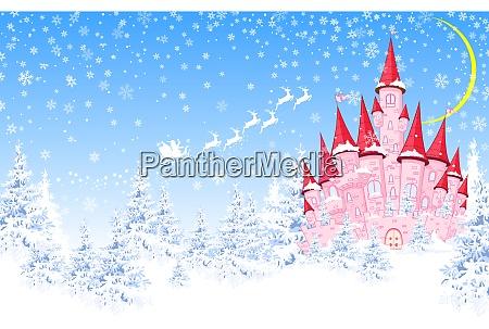 pink castle forest winter santa