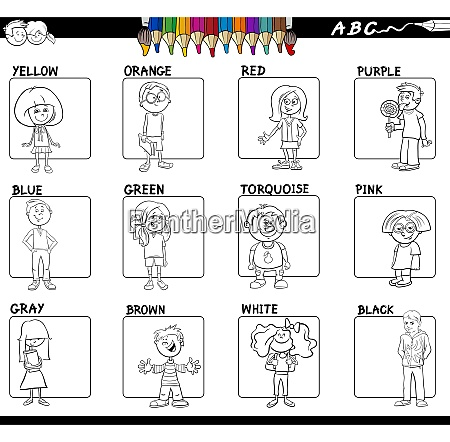 educational basic colors set for coloring