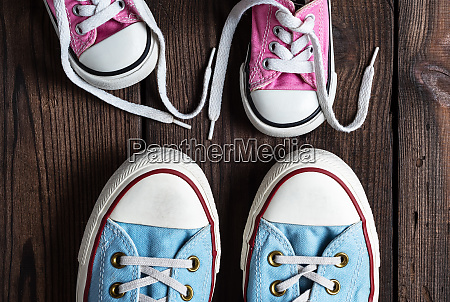 pink kids and adults textile sneakers